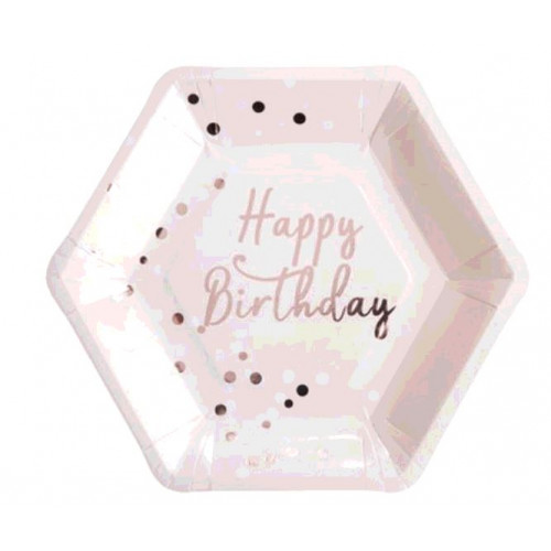 8 ASSIETTES HAPPY BIRTHDAY ROSE GOLD