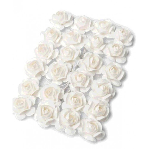 24 ROSES BLANCHES 2.1CM