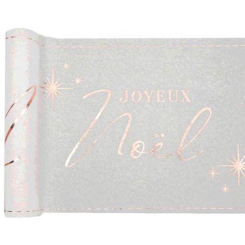CHEMIN DE TABLE JOYEUX NOEL BLANC