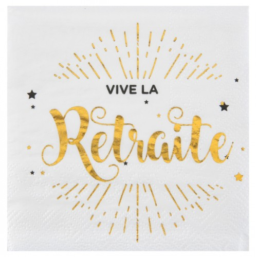 20 SERVIETTES RETRAITE BLC/OR