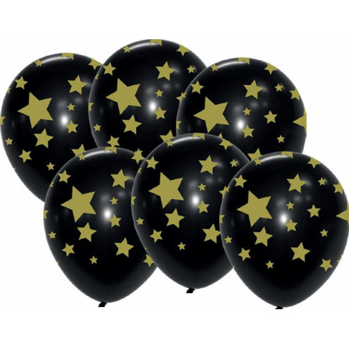 6 BALLONS NOIRS ETOILES OR
