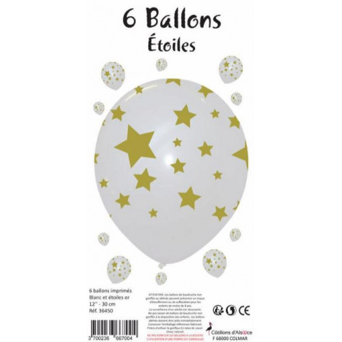 6 BALLONS BLANCS ETOILES OR