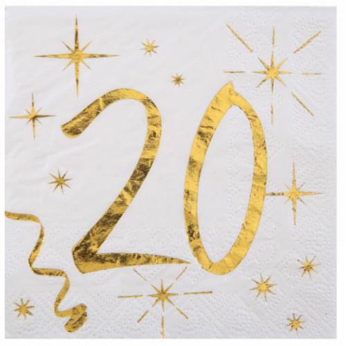 20 SERVIETTES AGE 20 ANS METAL BLANC