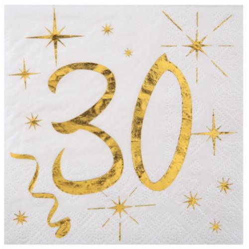 20 SERVIETTES AGE 30 ANS METAL BLANC
