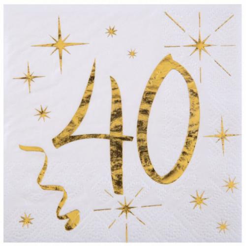 20 SERVIETTES AGE 40 ANS METAL BLANC