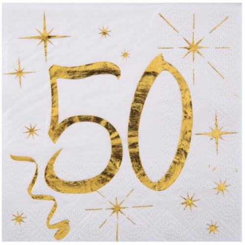 20 SERVIETTES AGE 50 ANS METAL BLANC