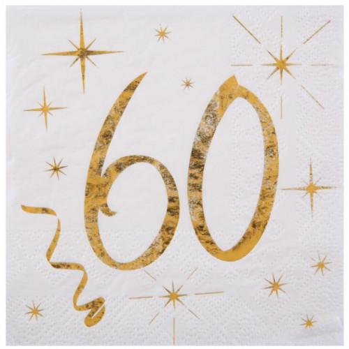 20 SERVIETTES AGE 60 ANS METAL BLANC