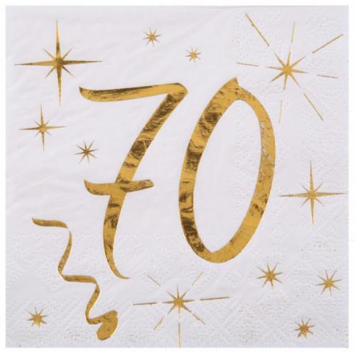 20 SERVIETTES AGE 70 ANS METAL BLANC