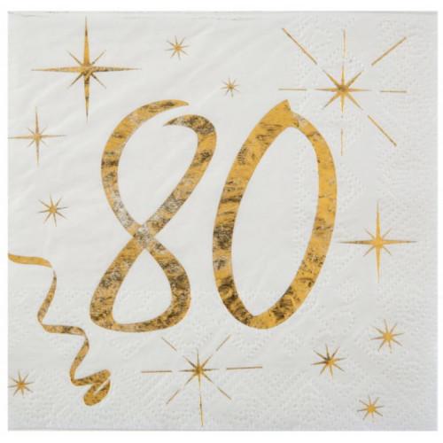 20 SERVIETTES AGE 80 ANS METAL BLANC