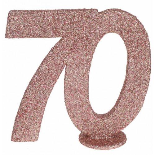 CENTRE DE TABLE CHIFFRE ANNIVERSAIRE 70 ANS ROSE GOLD