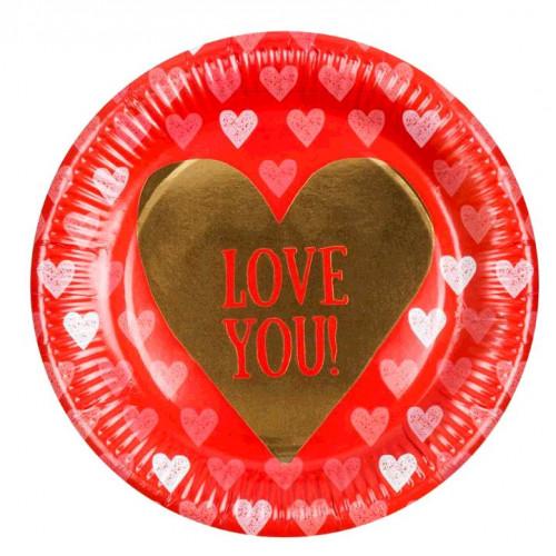 6 ASSIETTES CARTONS LOVE DIAM 23 CM