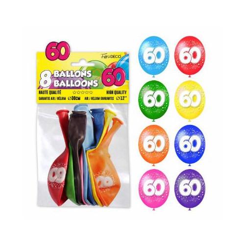 8 BALLONS 60 ANS
