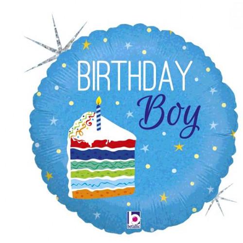 BALLON ALU BIRTHDAY CAKE BOY DIAMETRE 45CM