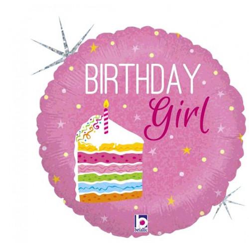 BALLON ALU BIRTHDAY CAKE GIRL DIAMETRE 45CM