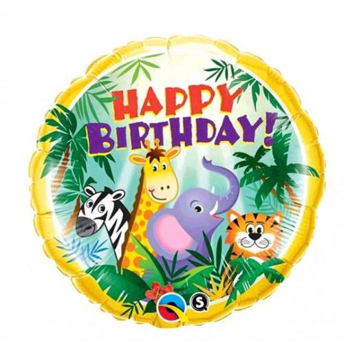 BALLON ALU HAPPY BIRTHDAY JUNGLE FRIENDS