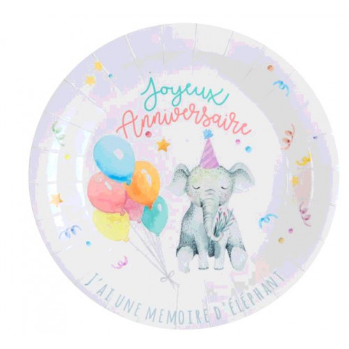 10 ASSIETTES ZOO PARTY MULTICOLORES