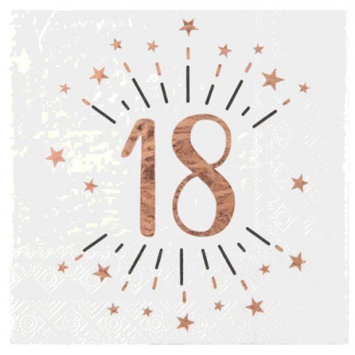 20 SERVIETTES AGE 18 ANS ROSE GOLD