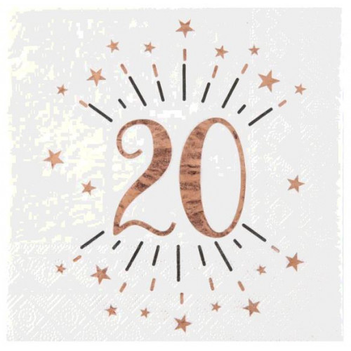 10 SERVIETTES AGE 20 ANS ROSE GOLD
