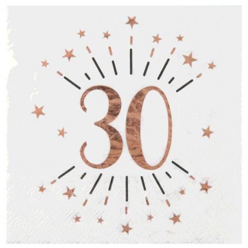 10 SERVIETTES AGE 30 ANS ROSE GOLD