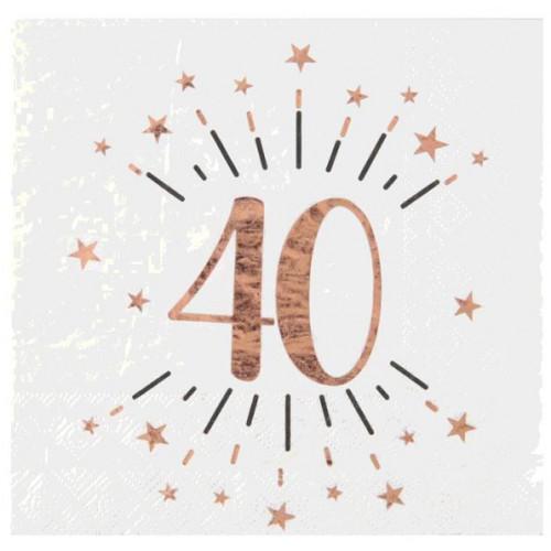 10 SERVIETTES AGE 40 ANS ROSE GOLD