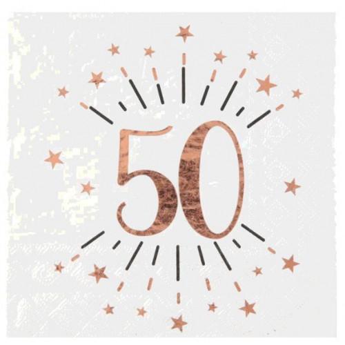 10 SERVIETTES AGE 50 ANS ROSE GOLD