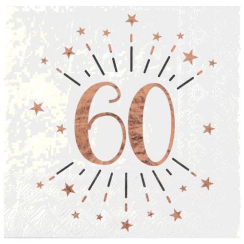 10 SERVIETTES AGE 60 ANS ROSE GOLD
