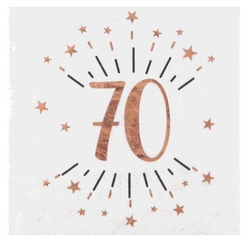 10 SERVIETTES AGE 70 ANS ROSE GOLD