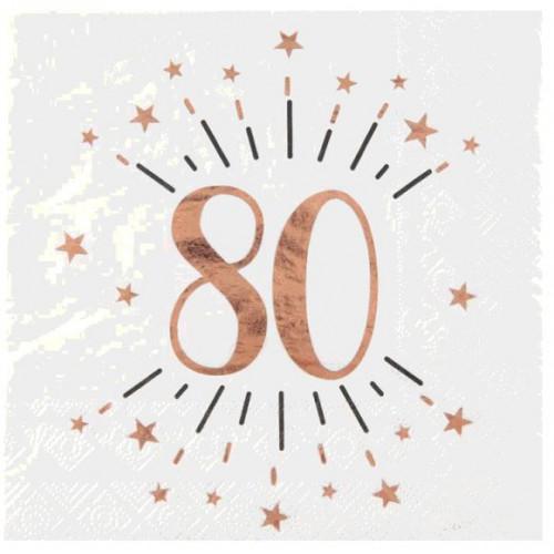 10 SERVIETTES AGE 80 ANS ROSE GOLD