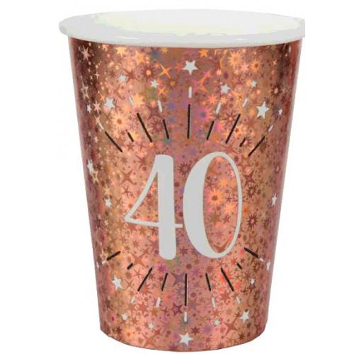 10 GOBELETS ETINCELANT ROSE GOLD 40 ANS