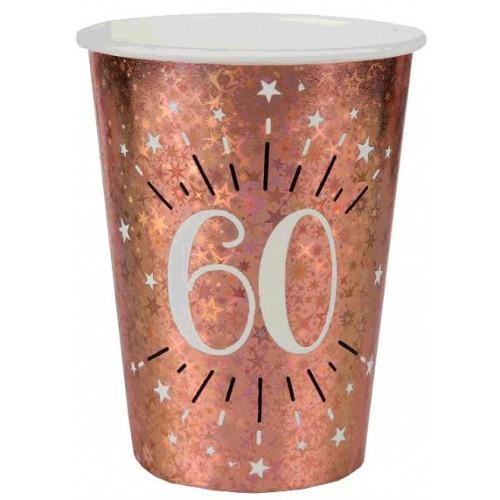 10 GOBELETS ETINCELANT ROSE GOLD 60 ANS