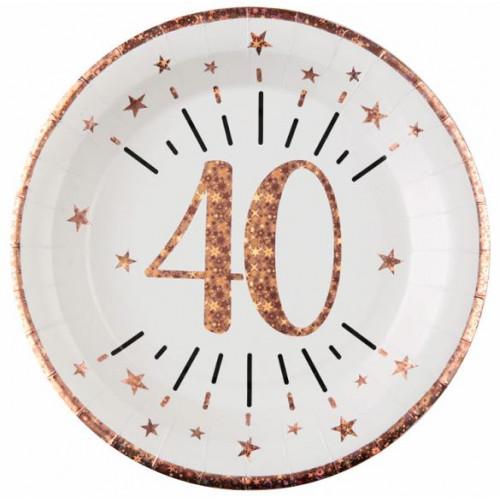 10 ASSIETTES AGE 40 ANS ROSE GOLD