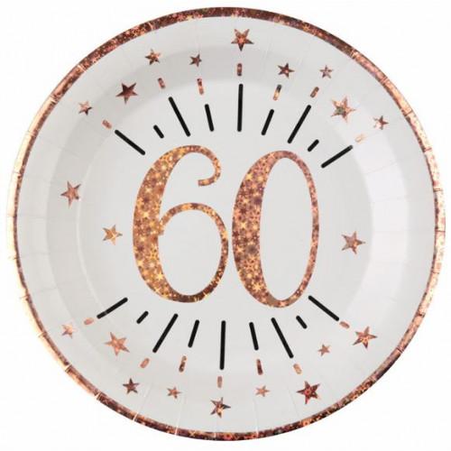 10 ASSIETTES AGE 60 ANS ROSE GOLD