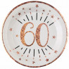 10 ASSIETTES AGE 60 ANS ROSE GOLD