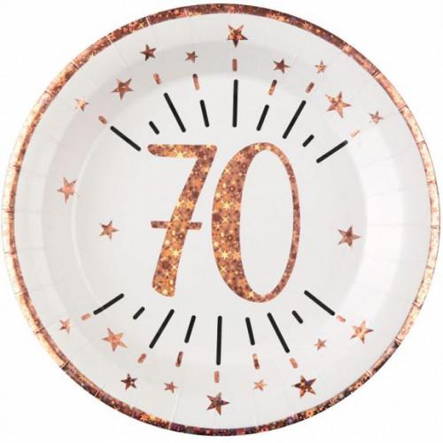 10 ASSIETTES AGE 70 ANS ROSE GOLD
