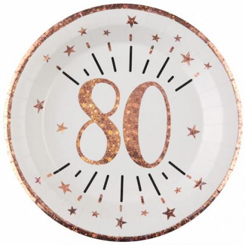 10 ASSIETTES AGE 80 ANS ROSE GOLD