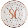 10 ASSIETTES AGE 80 ANS ROSE GOLD