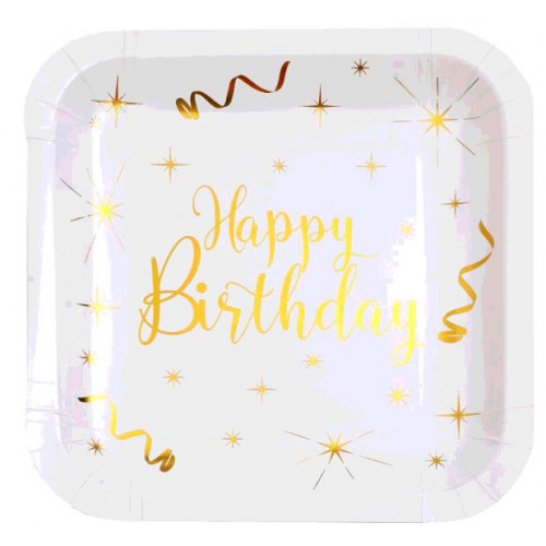 10 ASSIETTES CARRE HAPPY BIRTHDAY OR