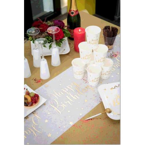 CHEMIN TABLE HAPPY BIRTHDAY METAL