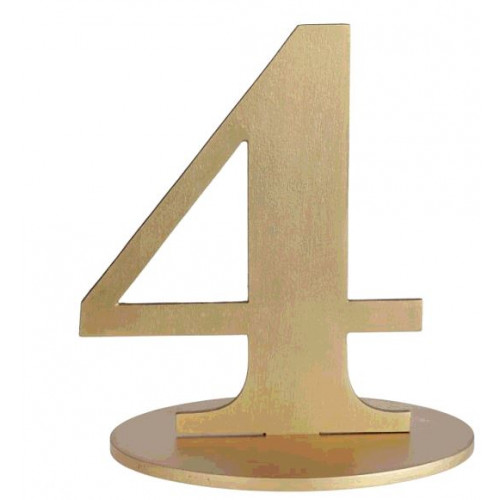 MARQUE TABLE CHIFFRE 4 METALLISE OR