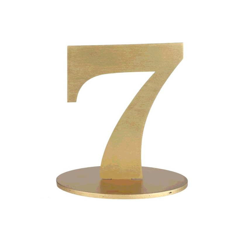 MARQUE TABLE CHIFFRE 7 METALLISE OR