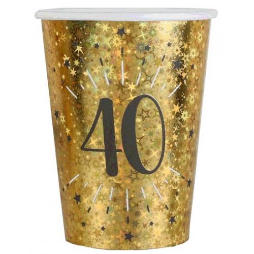 10 GOBELETS ETINCELANT OR 40 ANS