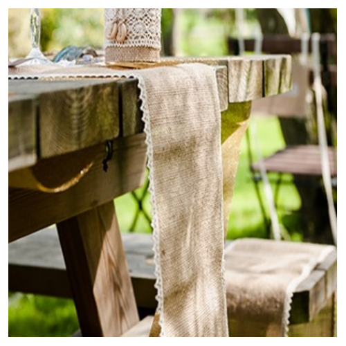 CHEMIN DE TABLE JUTE BORDS DE